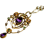 SALE Exceptional 15kt Gold Murrle Bennett & Co. Diamond, Amethyst and Demantoid Garnet 'Suffra