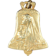 Antique French 1st Communion Pendant, 18k Gold