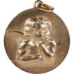 Vintage 'Raphael' Angel Pendant, 18k Rose Gold, Large!