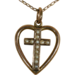 Antique 9k Victorian Seed Pear Cross and Heart Pendant c.1890 (Chain Not Included)