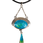 Antique Silver Arts and Crafts Enamel Pendant c.1900
