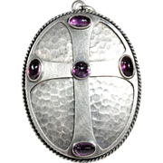Antique Silver Arts and Crafts Locket Backed Amethyst Cross Pendant c.1910