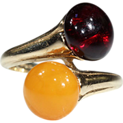 SALE Stunning Vintage Gold & Red Amber Bypass Ring in 14k Gold