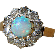 Stunning Antique 3ctw Diamond & Opal Cluster Ring, French c. 1890
