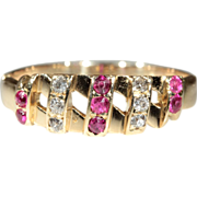 Vintage 18k Ruby and Diamond Band c.1950