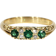 Vintage 18k Green Garnet and Diamond Ring c.1960