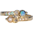 Antique Victorian Opal, Pearl and Diamond Ring in 18k Gold