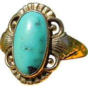 Vintage Art Deco Turquoise and 14k Gold Ring by Just Andersen, Denmark