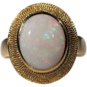 Vintage Opal & 18k Gold 1960's Cocktail Ring