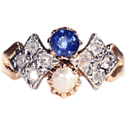 Antique Sapphire, Pearl and Rose Cut Diamond Ring, 18k & Platinum c. 1905