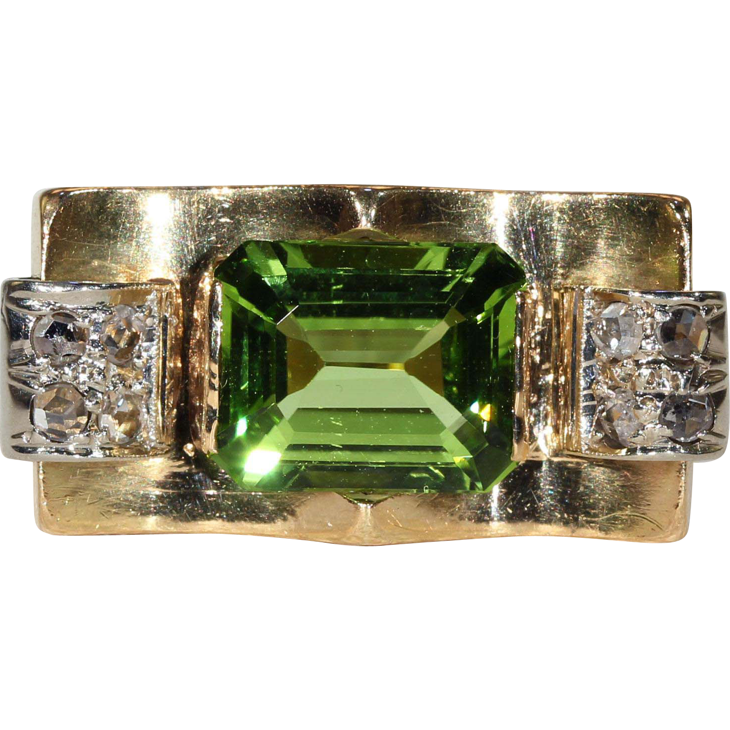 Vintage Retro Peridot and Diamond Ring, 18k Gold