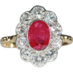 Stunning Vintage Ruby and Diamond Cluster Engagement Ring, 18k Gold and Platinum