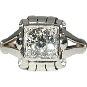 Retro 1.55ct Diamond Platinum and 18k Gold Engagement Ring Solitaire