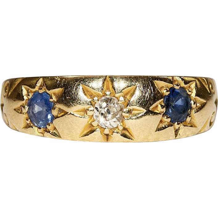 Antique Victorian Classical 3 Stone Diamond and Sapphire Ring, 18k Gold