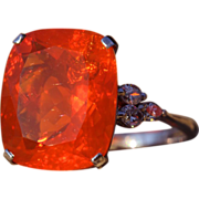 SALE Mid-Century Huge Fire Opal and Diamond Ring in Platinum