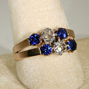 Fantastic Antique French 18k Rose Gold Sapphire and Diamond Ring c.1890