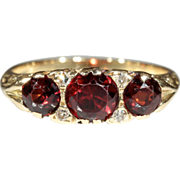 Vintage 18k Garnet and Diamond Ring c.1960