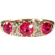 Vintage Art Deco Ruby and Diamond Engagement Ring, Hallmarked 1930
