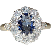 Vintage 18k and Platinum Sapphire and Diamond Ring c.1950