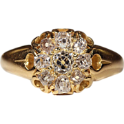 Classic Antique Victorian Diamond Cluster Ring in 18k Gold