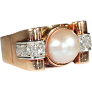 Vintage European 18k Retro Rose Cut Diamond and Pearl Ring c.1940