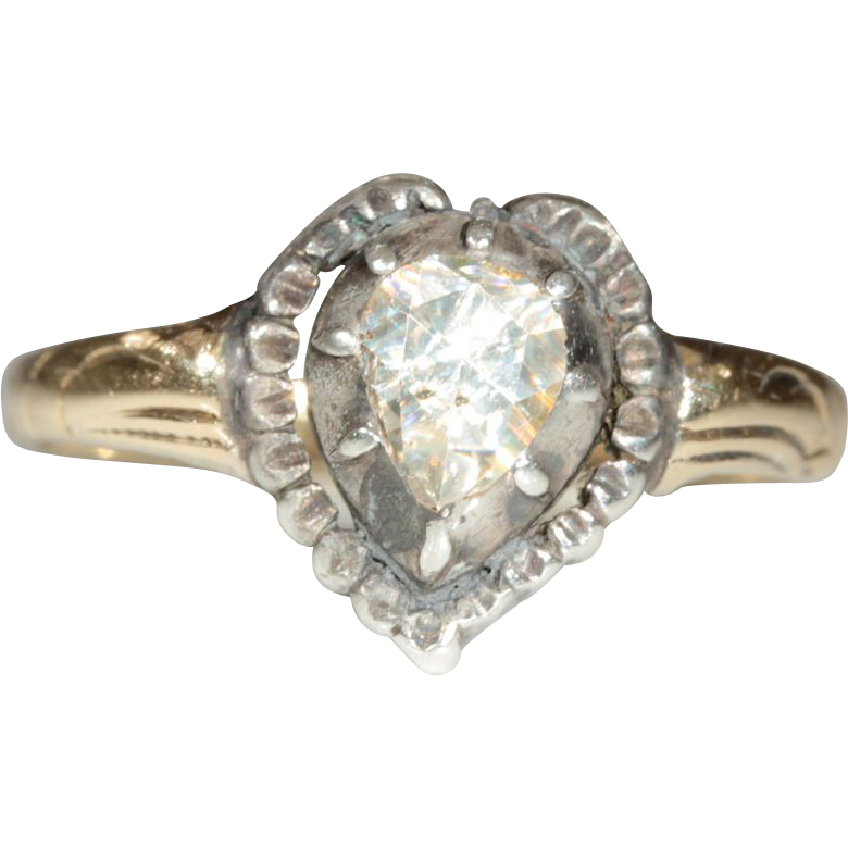 Antique 14k and Sliver European Rose Cut Diamond Heart Engagement Ring c.1860