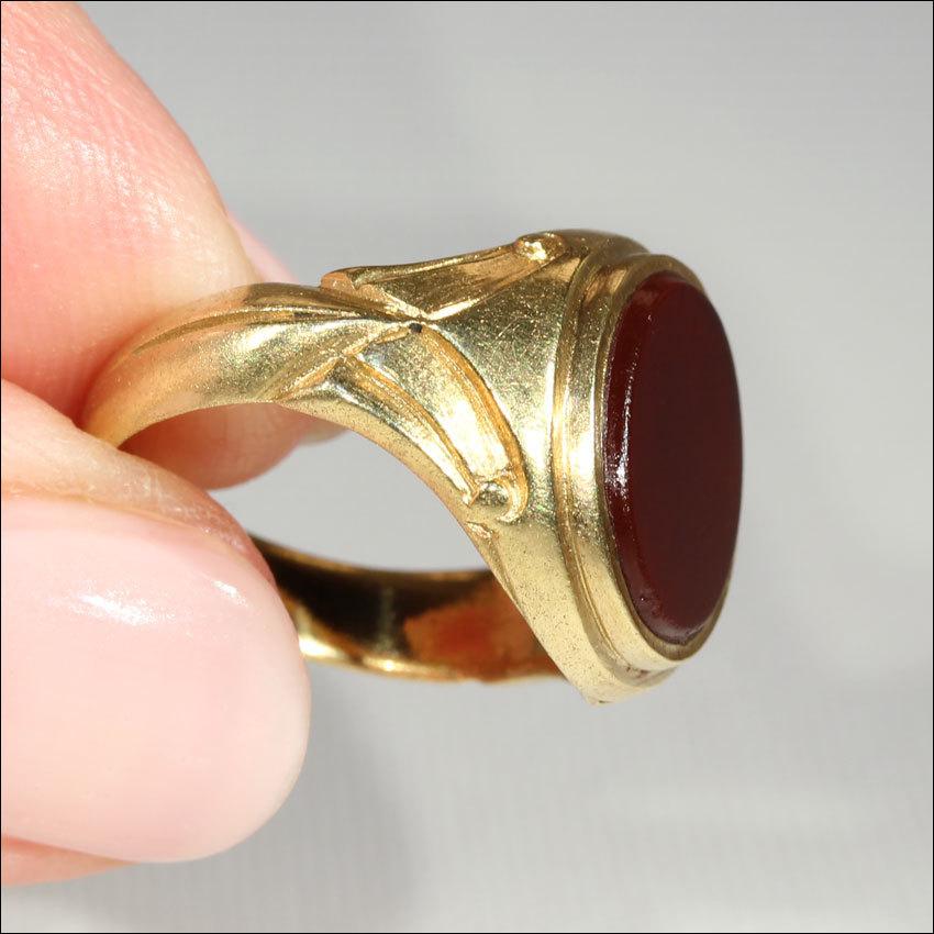 fantastic antique signet ring carnelian in 18k gold c