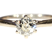 Classic Antique .75ct Diamond Solitaire Ring in 18k & Platinum