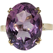 Vintage English Amethyst Cocktail Ring, 9k Gold 1961