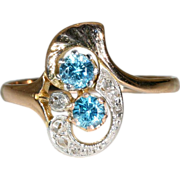 Fantastic Antique Art Nouveau Rose Gold and Platinum Diamond and Natural Blue Zircon Ring c.19
