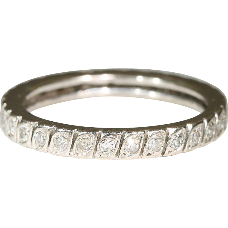 Vintage French Diamond Eternity Band, 18k Sz. 8