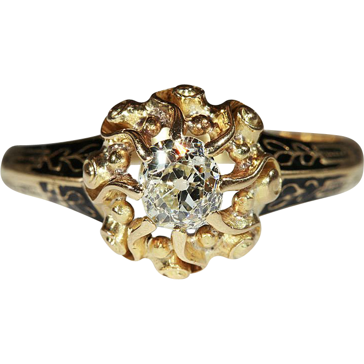 Antique Victorian Diamond Solitaire Ring, 18k Gold with Black Enamel