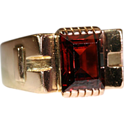 SALE Vintage 1950's Retro Garnet & 18k Gold Cocktail Ring