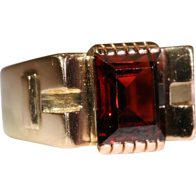 Vintage 1950's Retro Garnet & 18k Gold Cocktail Ring