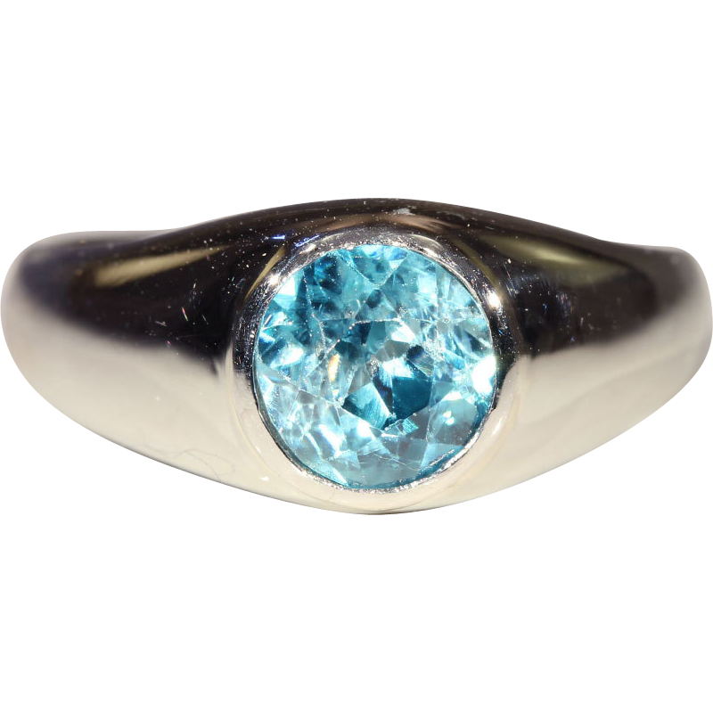 Vintage French Natural Blue Zircon & 18k White Gold Ring