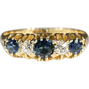 SALE Lovely 18k Edwardian Sapphire and Diamond Ring Hallmarked Birmingham, England 1915