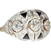 Vintage 18k and Platinum Art Deco Sapphire and Diamond Ring c.1930