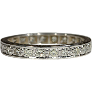 Vintage Art Deco Platinum Diamond Eternity Band, Size 8.65