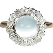 Antique European 18k and Platinum Diamond and Moonstone Ring c.1900