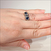 Vintage 14k American Art Deco Sapphire and Diamond Engagement Ring c.1920