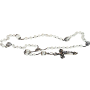 SALE Antique French Rosary with Faceted Rock Crystal Beads in Sterling Silver c. 1850