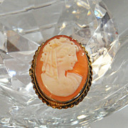Antique Victorian Cameo Pendant Brooch. Vintage Natural Shell Cameo. Vermeil over Sterling.