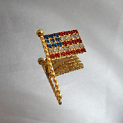 Vintage Flag Brooch Red, White, Blue Rhinestone American Flag USA