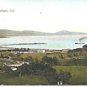 REDUCED Post Card, Birds Eye View of Santa Barbara, CA Early 20th Century