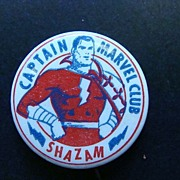 SALE Captain Marvel Club Pin Back Button Shazam