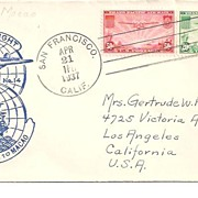 SALE First Flight Cover~1937 San Francisco to Macao