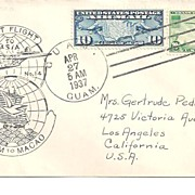 SALE First Flight Cover~Guam to Macao 1937
