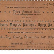 Harness Makers' National Union, No. 5~ 1890 Leather Invitation