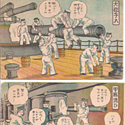Two Comic Japanese Postcards~Shipboard Inept Sailors