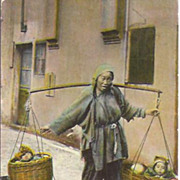 Chinese Post Card~Beggar Woman Carrying Her Babies